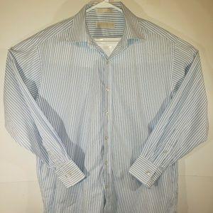 Michael Kors Blue And White Striped Shirt